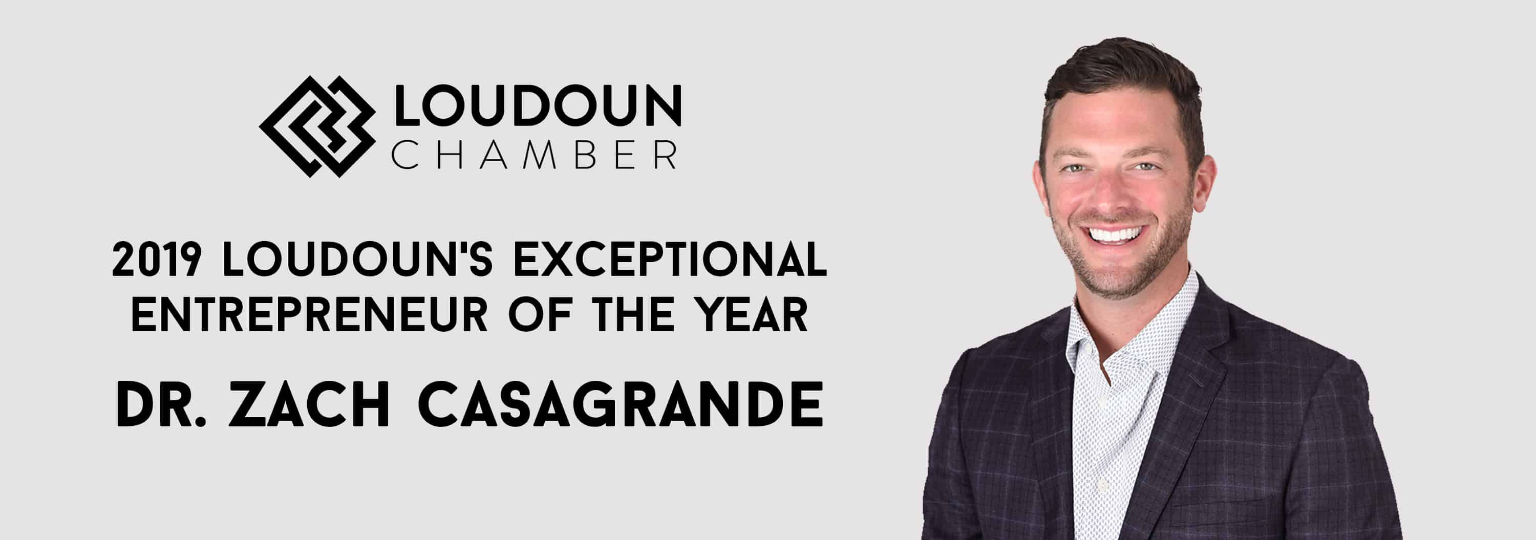 Dr. Zach Casagrande Named 2019 Entrepreneur of the Year by Loudoun County Chamber of Commerce